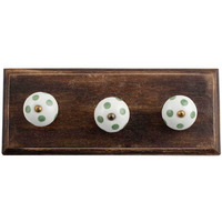 IndianShelf Handmade 3 Piece White Pea Green Dot Wooden Wall Hooks Cloth Coats Hangers Key Accessories Holders Online