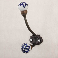 Navy Blue Floral Iron Wall Hook Hanger Key Holder Hat Clothes Hanging