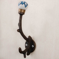 Turquoise Black Floral Tree Wall Hook Hanger Key Holder Hat Clothes Hanging