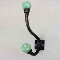 Pea Green Dot Iron Wall Hook Hanger Key Holder Hat Clothes Hanging