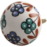 IndianShelf Handmade Ceramic Multicolor Tiny Flower Flat Artistic Designer Drawer Knobs/Cabinet Pulls