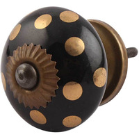 IndianShelf Handmade Ceramic Black Dot Artistic Designer Drawer Knobs/Cabinet Pulls