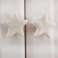 IndianShelf Handmade Ceramic Cream Star Crackle Kid Artistic Designer Drawer Knobs/Cabinet Pulls