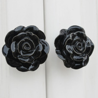 IndianShelf Handmade Ceramic Black Flower Artistic Designer Drawer Knobs/Cabinet Pulls