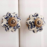 IndianShelf Handmade Ceramic Blue Flower Artistic Designer Drawer Knobs/Cabinet Pulls
