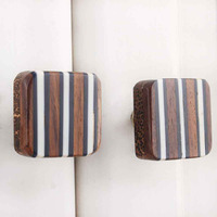 IndianShelf Handmade Resin Brown Square Striped Artistic Designer Drawer Knobs/Cabinet Pulls