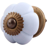 IndianShelf Handmade Glass Grey Melon Flower Artistic Designer Drawer Knobs/Cabinet Pulls
