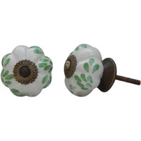 IndianShelf Handmade Ceramic Green Leaf Melon Artistic Designer Drawer Knobs/Cabinet Pulls