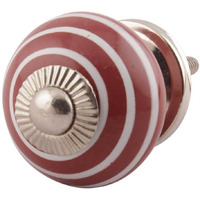 IndianShelf Handmade 2 Piece Ceramic Cherry Stripe Artistic Designer Drawer Knobs/Cabinet Pulls