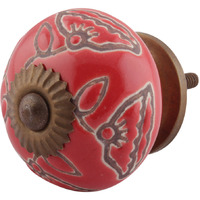 IndianShelf Handmade 2 Piece Ceramic Red Calla Lily Etched Artistic Designer Drawer Knobs/Cabinet Pulls