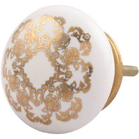 IndianShelf Handmade 2 Piece Ceramic Golden Flat Vintage Furniture Knobs/Wardrobe Pulls