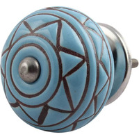 IndianShelf Handmade 2 Piece Ceramic Brown Etched Artistic Designer Drawer Knobs/Cabinet Pulls
