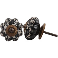 IndianShelf Handmade 2 Piece Ceramic Black Etched Melon Decorative Dresser Knobs/Cabinet Pulls