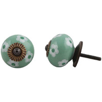 IndianShelf Handmade 2 Piece Ceramic Green Floral Decorative Dresser Knobs/Cabinet Pulls