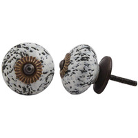 IndianShelf Handmade 2 Piece Ceramic White Etched Decorative Dresser Knobs/Cabinet Pulls