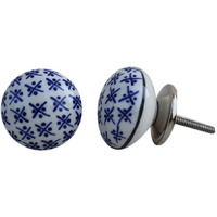 IndianShelf Handmade 2 Piece Ceramic Blue Floral Flat Decorative Dresser Knobs/Cabinet Pulls