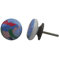 IndianShelf Handmade 2 Piece Ceramic Multicolor Stegosaurus Kid Decorative Dresser Knobs/Cabinet Pulls