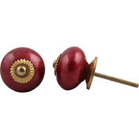 IndianShelf Handmade 2 Piece Ceramic Cherry Cherry Solid Vintage Furniture Knobs/Wardrobe Pulls