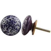 IndianShelf Handmade 2 Piece Ceramic Purple Etched Vintage Furniture Knobs/Wardrobe Pulls