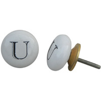 IndianShelf Handmade 2 Piece Ceramic White U Alphabet Vintage Furniture Knobs/Wardrobe Pulls