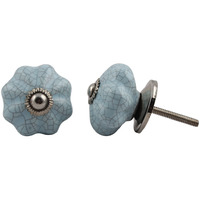 IndianShelf Handmade 2 Piece Ceramic Blue Crackle Decorative Dresser Knobs/Cabinet Pulls