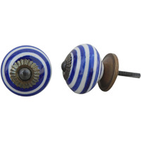 IndianShelf Handmade 2 Piece Ceramic Blue Stripe Artistic Designer Drawer Knobs/Cabinet Pulls