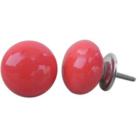 IndianShelf Handmade 2 Piece Ceramic Red Solid Artistic Designer Drawer Knobs/Cabinet Pulls