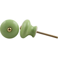 IndianShelf Handmade 2 Piece Ceramic Green Solid Vintage Furniture Knobs/Wardrobe Pulls