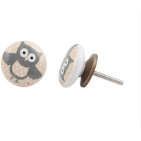 IndianShelf Handmade 2 Piece Ceramic Multicolor Owl Kid Artistic Designer Drawer Knobs/Cabinet Pulls