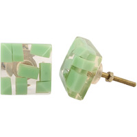 IndianShelf Handmade 2 Piece Resin Clear Square Artistic Designer Drawer Knobs/Cabinet Pulls