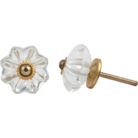 IndianShelf Handmade 2 Piece Glass Clear Marigold Flower Vintage Furniture Knobs/Wardrobe Pulls