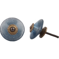IndianShelf Handmade 2 Piece Glass Blue Wheel Artistic Designer Drawer Knobs/Cabinet Pulls