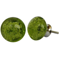 IndianShelf Handmade 2 Piece Glass Green Bubble Artistic Designer Drawer Knobs/Cabinet Pulls