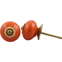IndianShelf Handmade 2 Piece Ceramic Orange Round Solid Vintage Furniture Knobs/Wardrobe Pulls