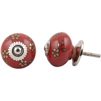 IndianShelf Handmade 2 Piece Ceramic Golden Tiny Flower Vintage Furniture Knobs/Wardrobe Pulls