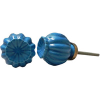 IndianShelf Handmade 2 Piece Ceramic Blue Umbrella Solid Artistic Designer Drawer Knobs/Cabinet Pulls