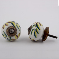 IndianShelf Handmade 2 Piece Ceramic Green County Artistic Designer Drawer Knobs/Cabinet Pulls