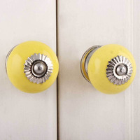 IndianShelf Handmade 2 Piece Ceramic Yellow Solid Artistic Designer Drawer Knobs/Cabinet Pulls