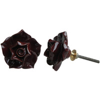 IndianShelf Handmade 2 Piece Ceramic Chocolate Rose Flower Shape Artistic Designer Drawer Knobs/Cabinet Pulls