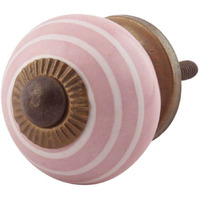 IndianShelf Handmade 4 Piece Ceramic Pink Stripe Artistic Drawer Knobs/Cabinet Pulls