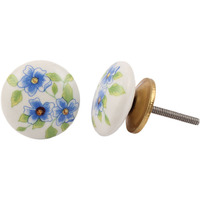 IndianShelf Handmade 4 Piece Ceramic Blue Poppy Flower Flat Artistic Drawer Knobs/Cabinet Pulls