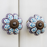 IndianShelf Handmade 4 Piece Ceramic Turquoise Melon Artistic Drawer Knobs/Cabinet Pulls