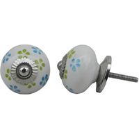 IndianShelf Handmade 4 Piece Ceramic Turquoise Floral Artistic Drawer Knobs/Cabinet Pulls