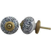 IndianShelf Handmade 4 Piece Ceramic Black Aster Flower Home Decor Dresser Knobs/Wardrobe Cabinet Pulls