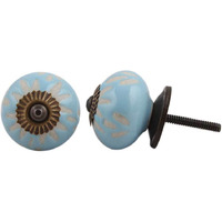 IndianShelf Handmade 4 Piece Ceramic Turquoise Etched Decorative Room Drawer Knobs/Cabinet Door Pulls