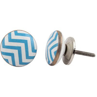 IndianShelf Handmade 4 Piece Ceramic Turquoise Wave Flat Decorative Room Drawer Knobs/Cabinet Door Pulls