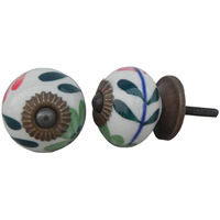 IndianShelf Handmade 4 Piece Ceramic Green Flower Decorative Room Drawer Knobs/Cabinet Door Pulls