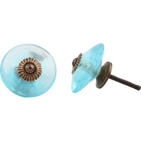 IndianShelf Handmade 4 Piece Glass Turquoise Wheel Artistic Drawer Knobs/Cabinet Pulls