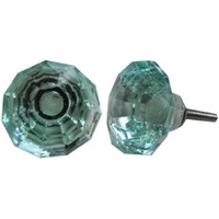 IndianShelf Handmade 4 Piece Glass Turquoise Diamond Artistic Drawer Knobs/Cabinet Pulls