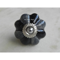 IndianShelf Handmade 4 Piece Ceramic Grey Floral Artistic Drawer Knobs/Cabinet Pulls
